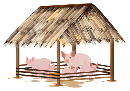 Many pig in corral vector design