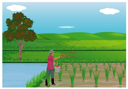 farmer manure rice plant vector design