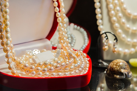 beautiful freshwater pearls in shop Stock Photo