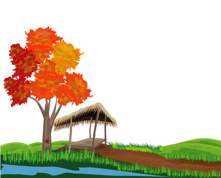 straw hut with red tree vector design