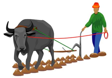 farmer plowing shape vector design