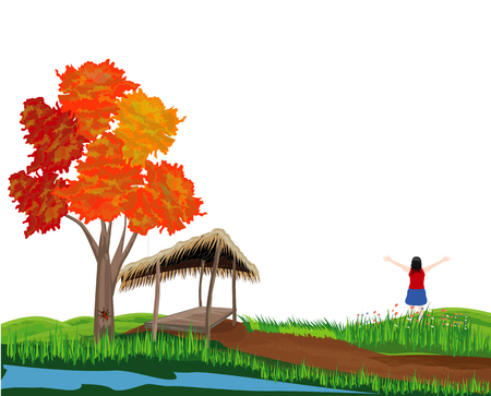 one lady stand extend the arm in field vector design