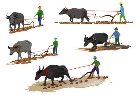 the farmer with buffalo shape vector design