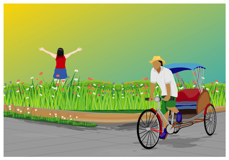 work man with lady in garden design Illustration