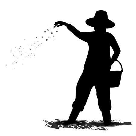 silhouette farmer shape design Illustration