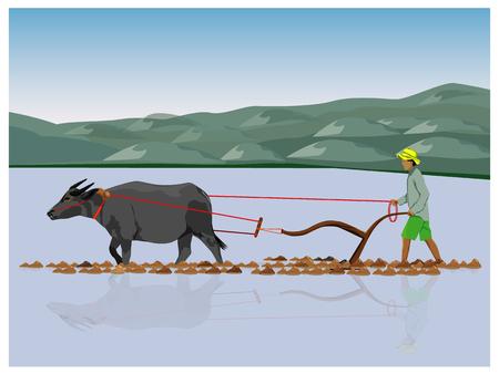 farmer plowing vector design