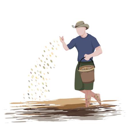forme de fermier semant la conception de vecteur de riz