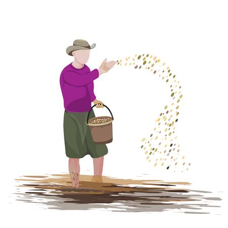 farmer shape sowing rice vector design Standard-Bild - 105789689