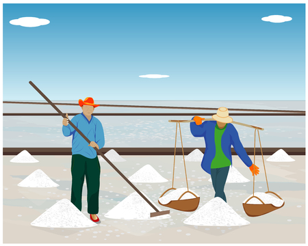 agriculturist work in saline field vector design