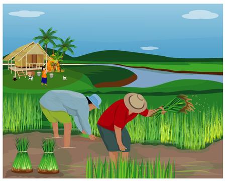 stile di vita del disegno vettoriale contadino