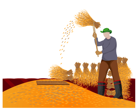 farmer hit rice vector design Illustration