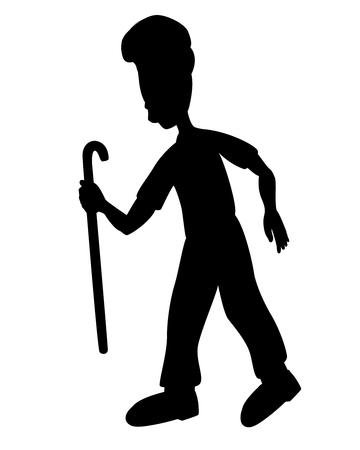 silhouette old man vector design Çizim