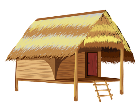 straw hut vector design