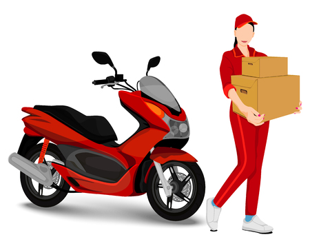 the delivery woman vector design