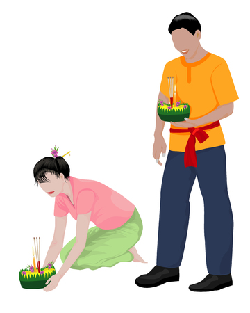 two young with kratong vector design