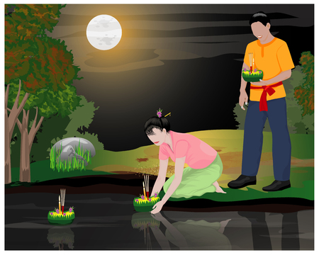 two young loy kratong in canal under full moon vector design
