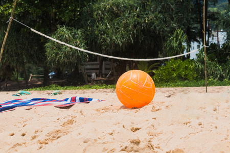 orange Volleyball on beach Banco de Imagens