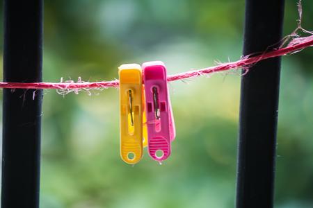 Clothespin on plastic rope Reklamní fotografie
