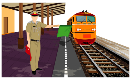 the old train with staff vector design