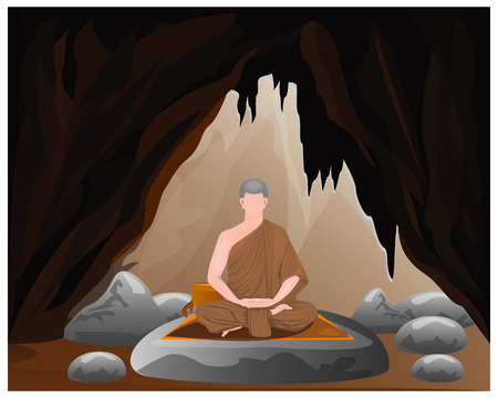 one monk meditation in cave vector design