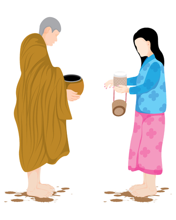 the monk receive food from villager vector design