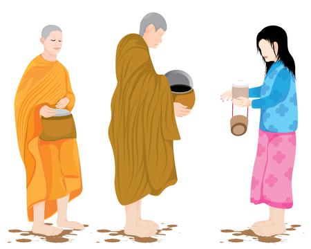 le moine reçoit de la nourriture de la conception de vecteur de villageois Vecteurs