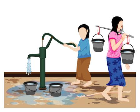 due ragazze raccolgono acqua disegno vettoriale