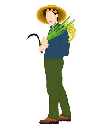 farmer harvest rice shape vector design Illustration