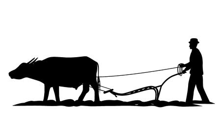 silhouette contadino aratro disegno vettoriale