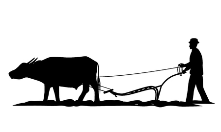 silhouette farmer plow vector design