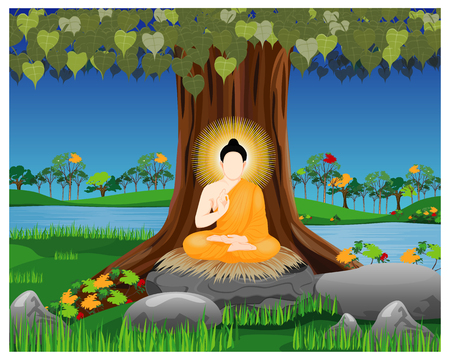 the Buddha meditation under Bodhi tree vector design Vettoriali