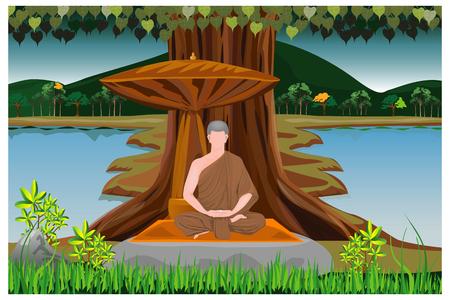 One monk meditation under Bodhi Tree vector design Ilustrace