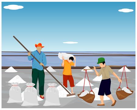 landbouwkundig werk in zoute veldvectorontwerp