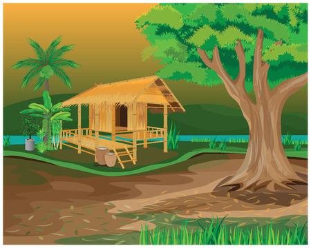 straw hut vector design