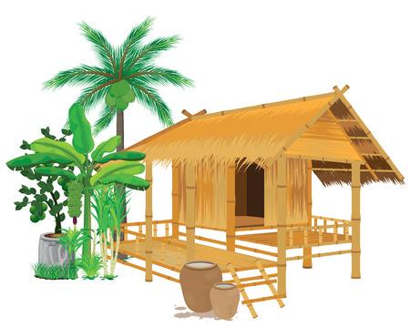 capanna di paglia con disegno vettoriale vegetale