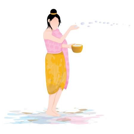 lovely woman in songkran festival vector design