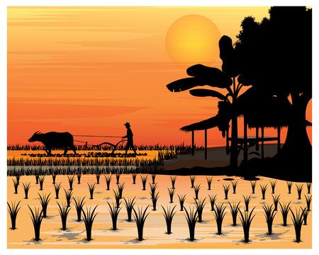 silhouette agricoltore disegno vettoriale Vettoriali