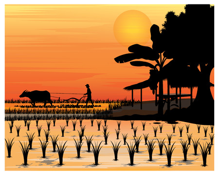 silhouette farmer vector design