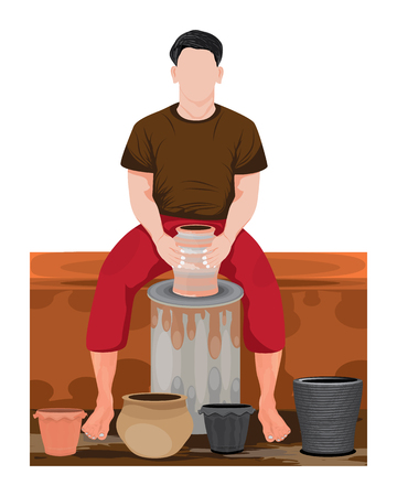 one man work with jug vector design