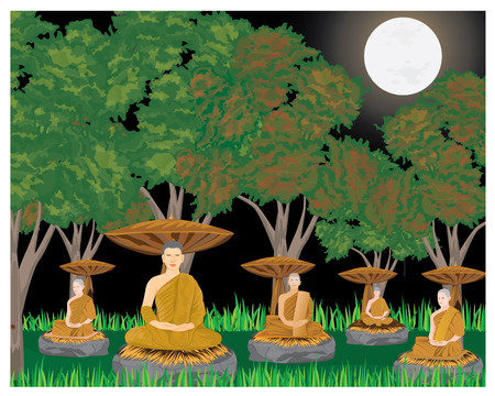 the monk meditation under tree in forest vector design