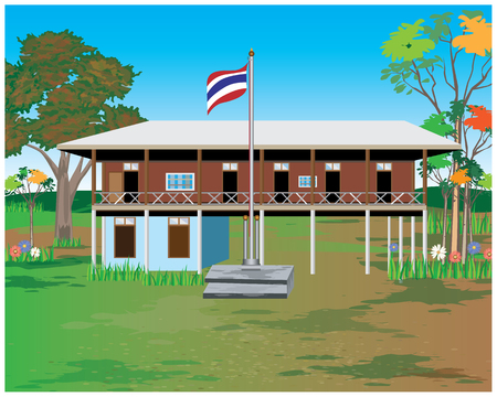 the wooden school vector design