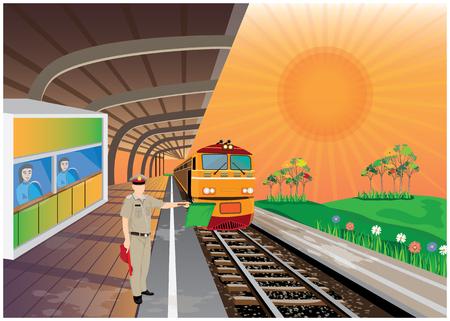 train station vector design