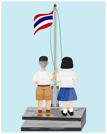 two students standing in front of flag for respect Illustration