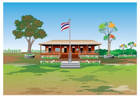 il disegno vettoriale della scuola in legno