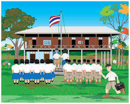 students standing for respect in front of thai flag