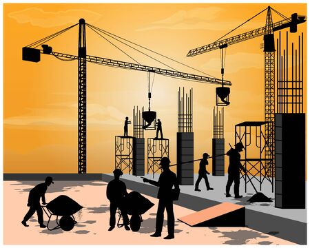 silhouette construction work vector design Banque d'images - 131129130