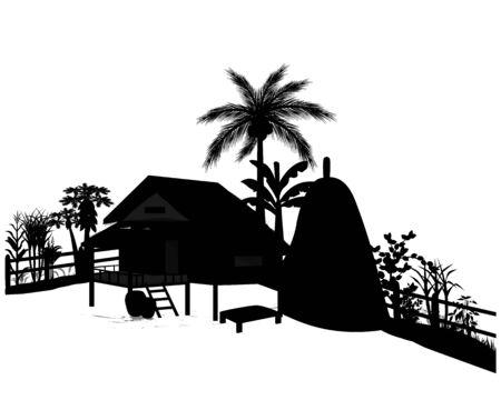 silhouette straw hut with vegetable around picket Illustration
