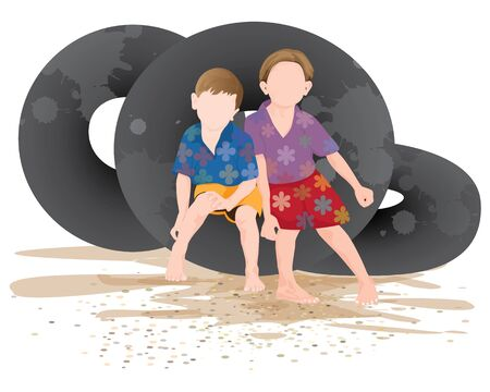 two child on tire vector design Vectores