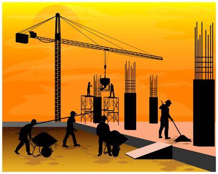 silhouette construction work vector design
