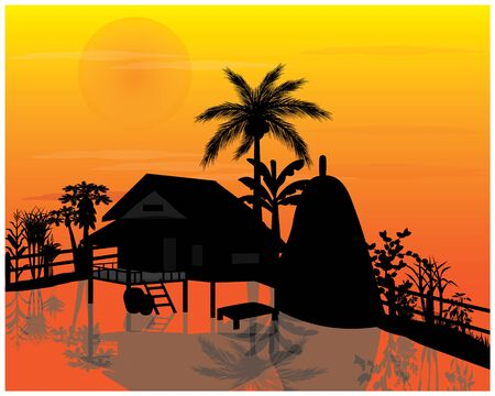 silhouette straw hut with vegetable around picket Stock Illustratie